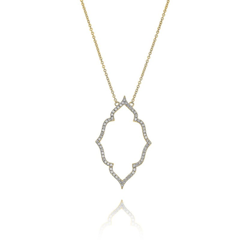 Yael Designs Open Quatrefoil Diamond Necklace 18KY