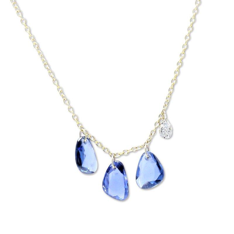 Meira T Pierced Sapphire Dangle Necklace
