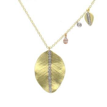 Leaf & Charm Necklace 14K