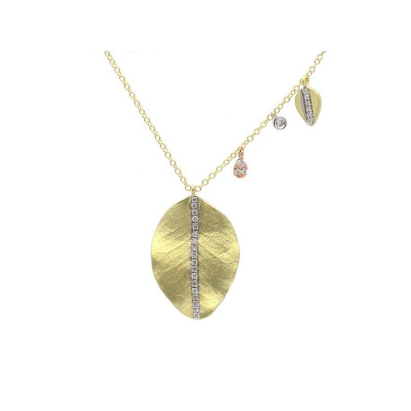Meira T Leaf & Charm Necklace 14K