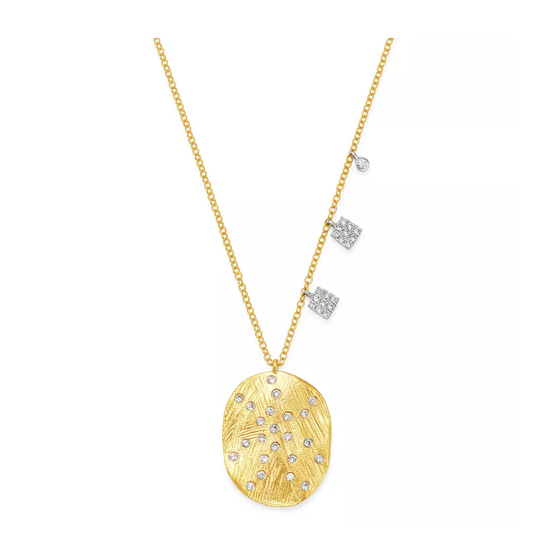 Meira T Oval Disc Necklace 14KY