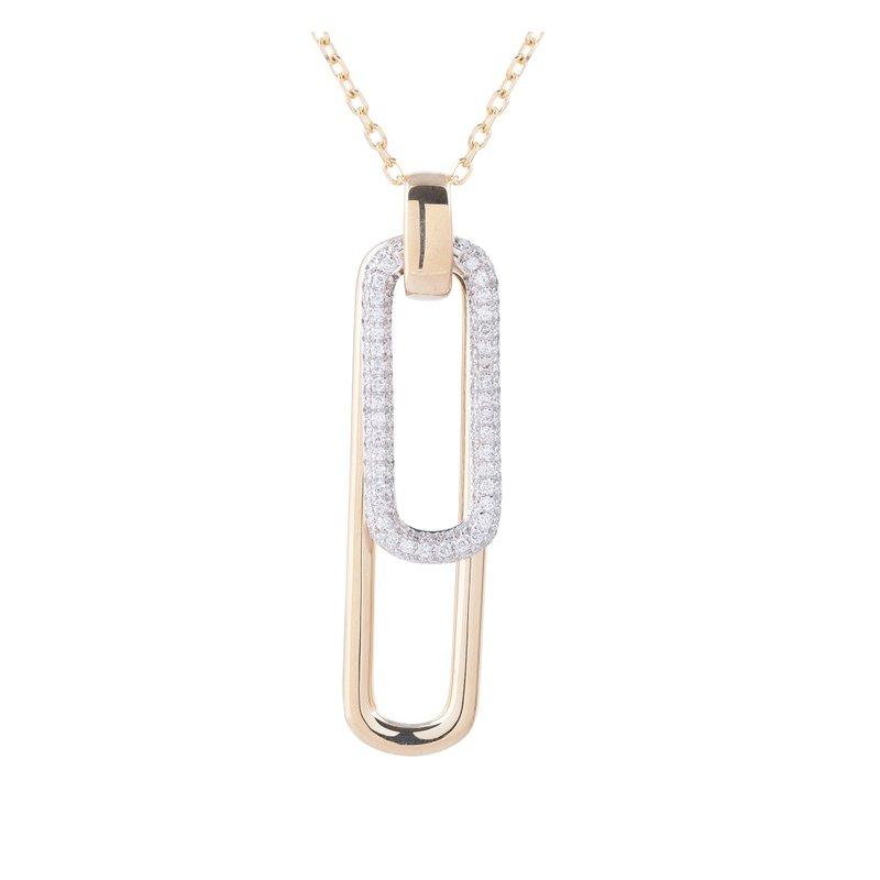 Sophia by Design Pave Rectangle Diamond Necklace 14K