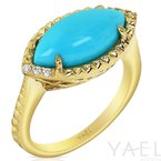 Yael Designs Marquise Turquoise Ring 14KY