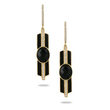 Gatsby Onyx Dangle Earrings 18KY