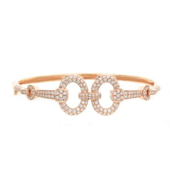 Open Diamond Circles Bangle 18KR