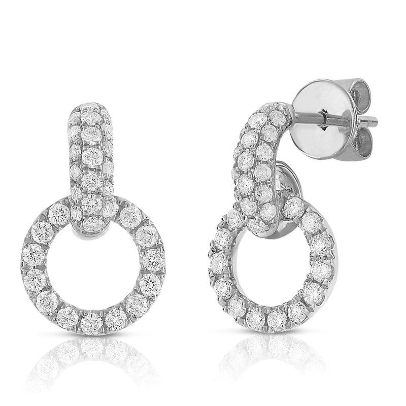 London Gold Designs Interlocking Pave Earrings 18KW