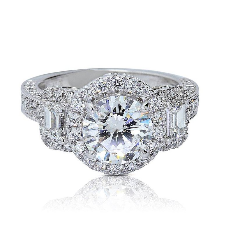 Yael Designs Three Stone Halo Ring 18KW