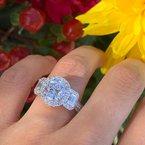 Yael Designs Three Stone Halo Ring 18KW