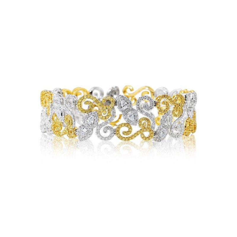 London Gold Designs White and Yellow Diamond Bracelet
