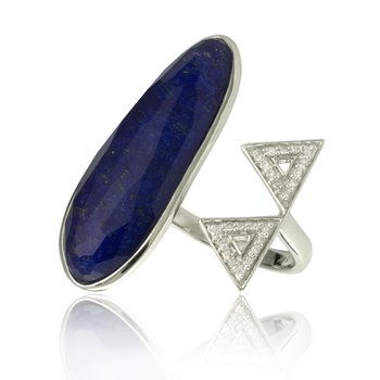 Lapis Doublet Halo Ring