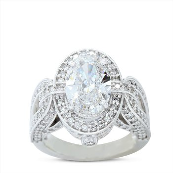 3.01 Oval Halo Engagement Ring 14KW