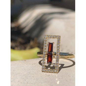 Open Rectangle Diamond & Garnet Ring