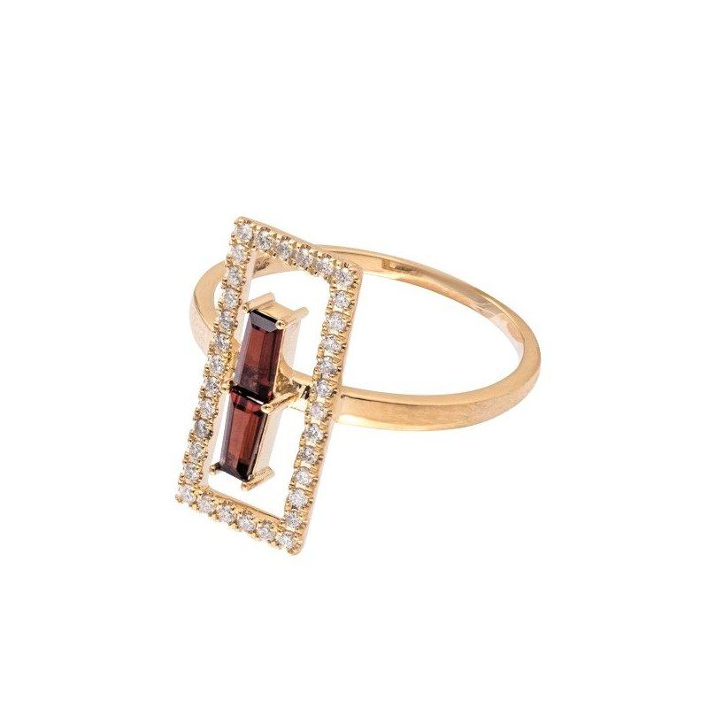 Sophia by Design Open Rectangle Diamond & Garnet Ring