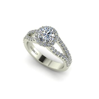 Split Style Engagement Ring Setting 14KW