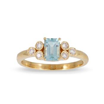 Blue Topaz & Diamond Ring 18KY