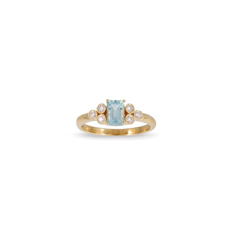 Doves Blue Topaz & Diamond Ring 18KY