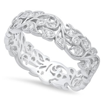 Floral Eternity Band 18KW