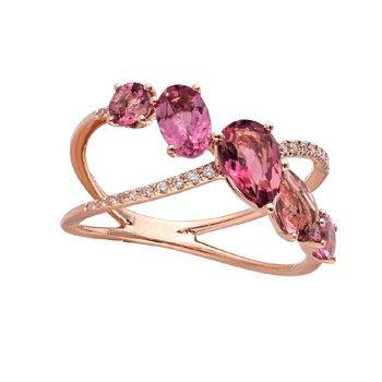 Crisscross Pink Tourmaline Ring 14KR