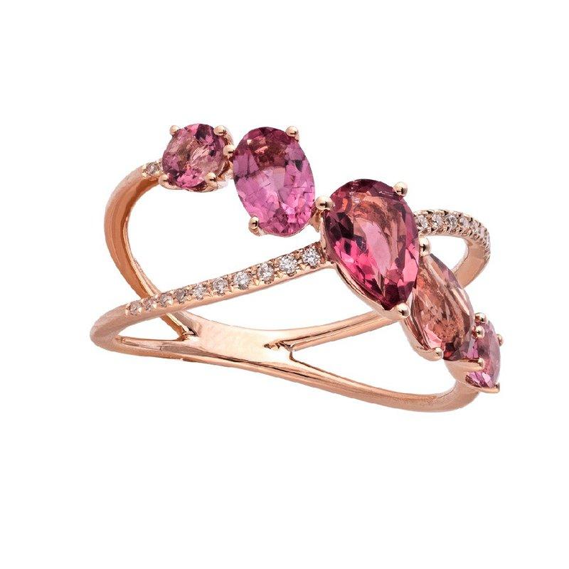 Sophia by Design Crisscross Pink Tourmaline Ring 14KR