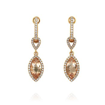 Marquise Morganite & Diamond Dangles 18KR