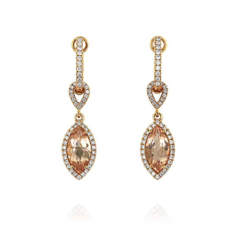 Yael Designs Marquise Morganite & Diamond Dangles 18KR