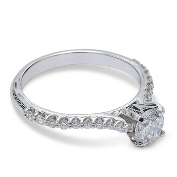 Round Diamond Engagement Ring 14KW
