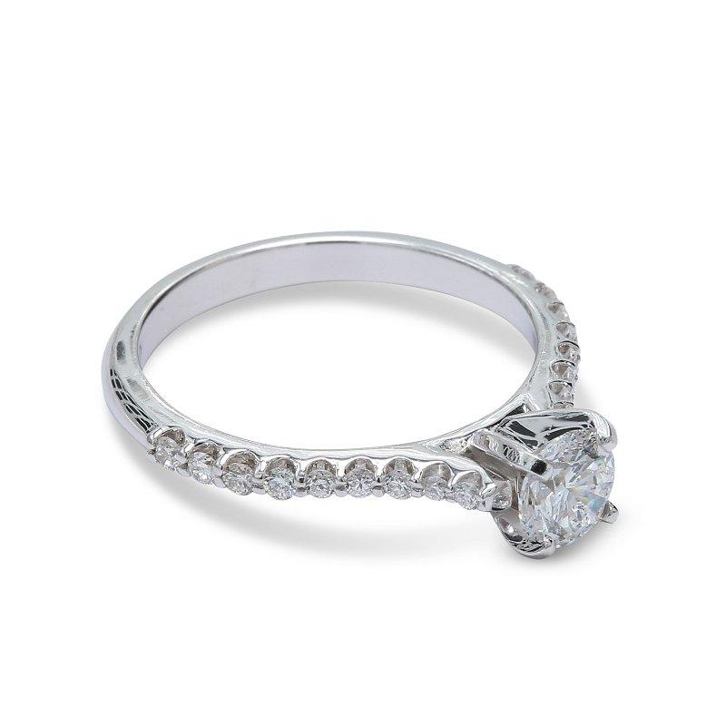 Ascencio Designs Round Diamond Engagement Ring 14KW
