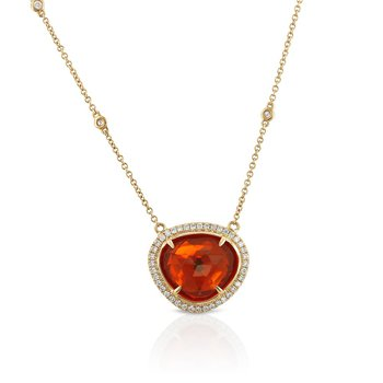 Fire Opal & Diamond Halo Necklace