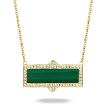 Malachite Rectangle Necklace 18KY