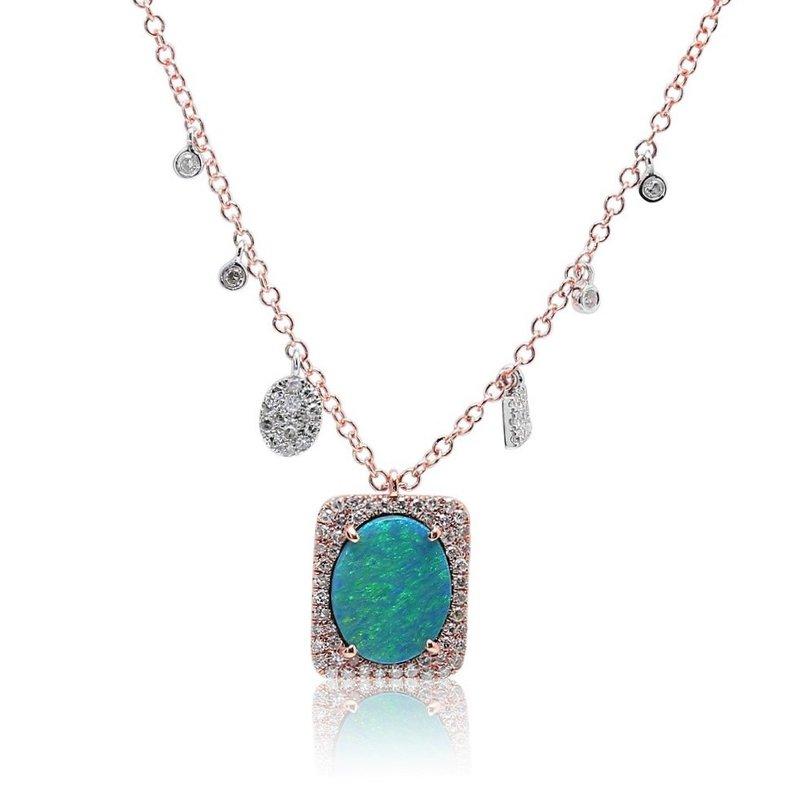 Meira T Opal Halo Necklace 14KR