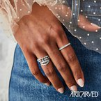 ArtCarved 14K White Gold Diamond Wedding Band