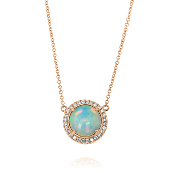 Opal & Diamond Halo Necklace