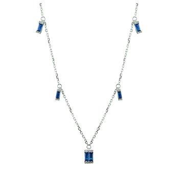 Diamond & Sapphire Necklace 14KW