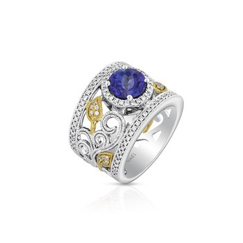 Openwork Tanzanite & Diamond Ring 18K