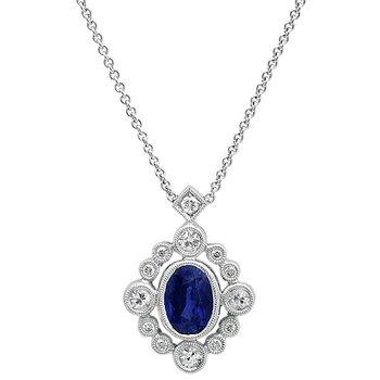 Vintage Blue & White Sapphire Pendant