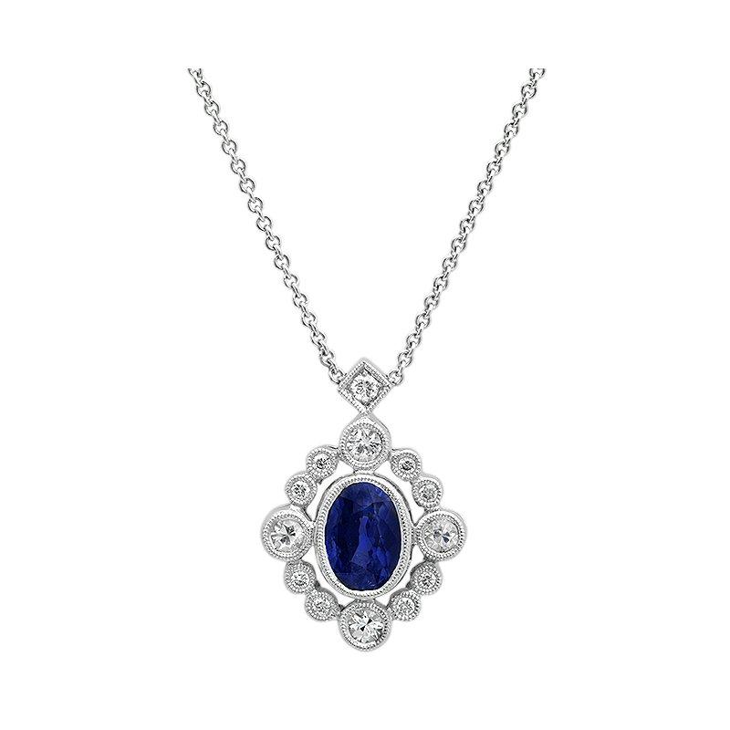 Beverley K Vintage Blue & White Sapphire Pendant