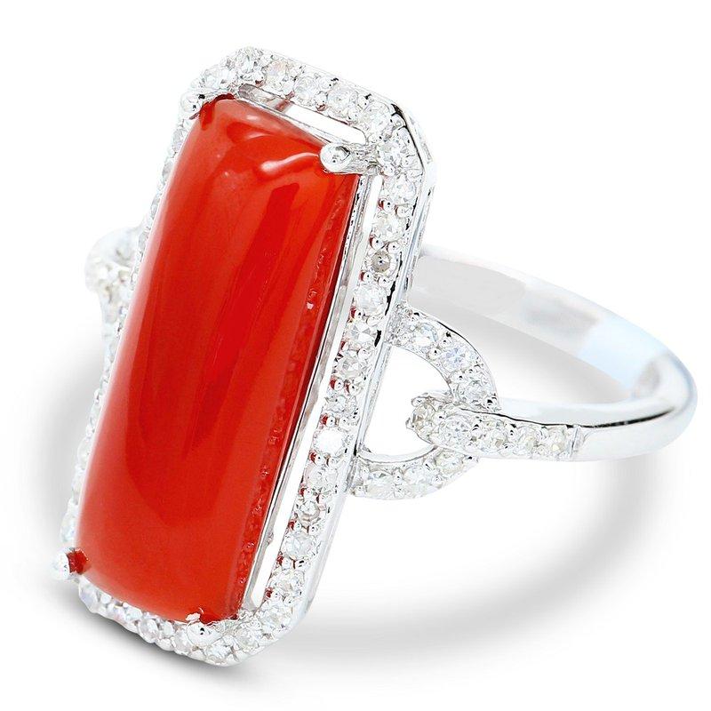 Estate Jewelry Agate & Diamond Ring 14KW