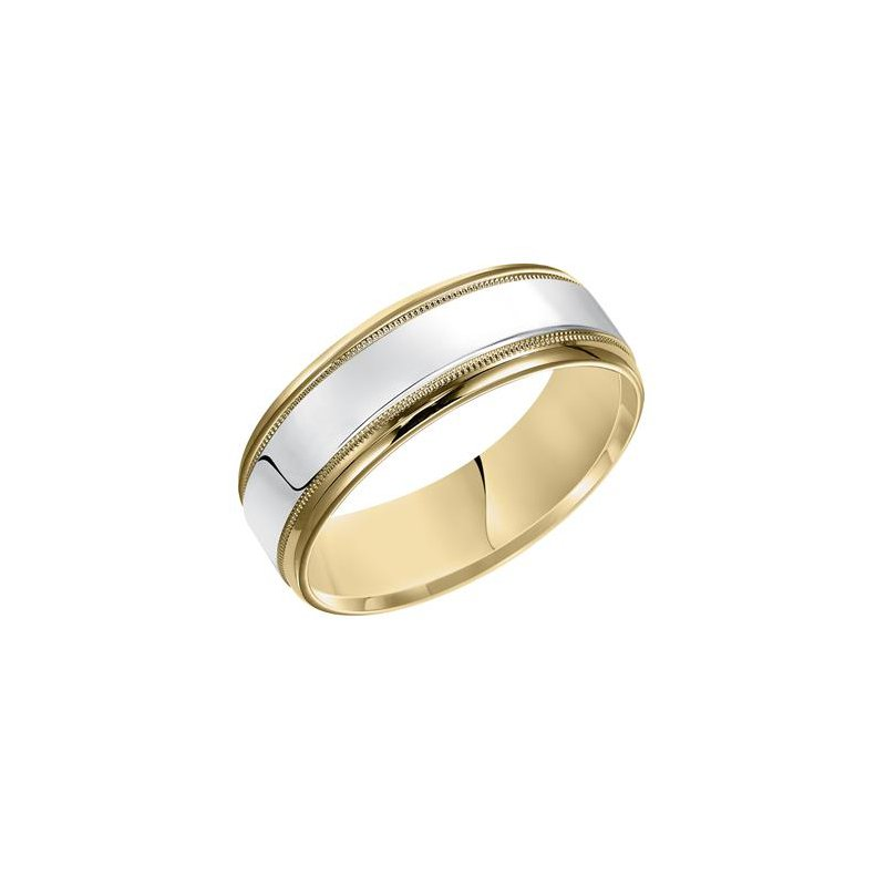 Frederick Goldman 14K Two-Tone - Yellow & White Gold Engraved Wedding Band