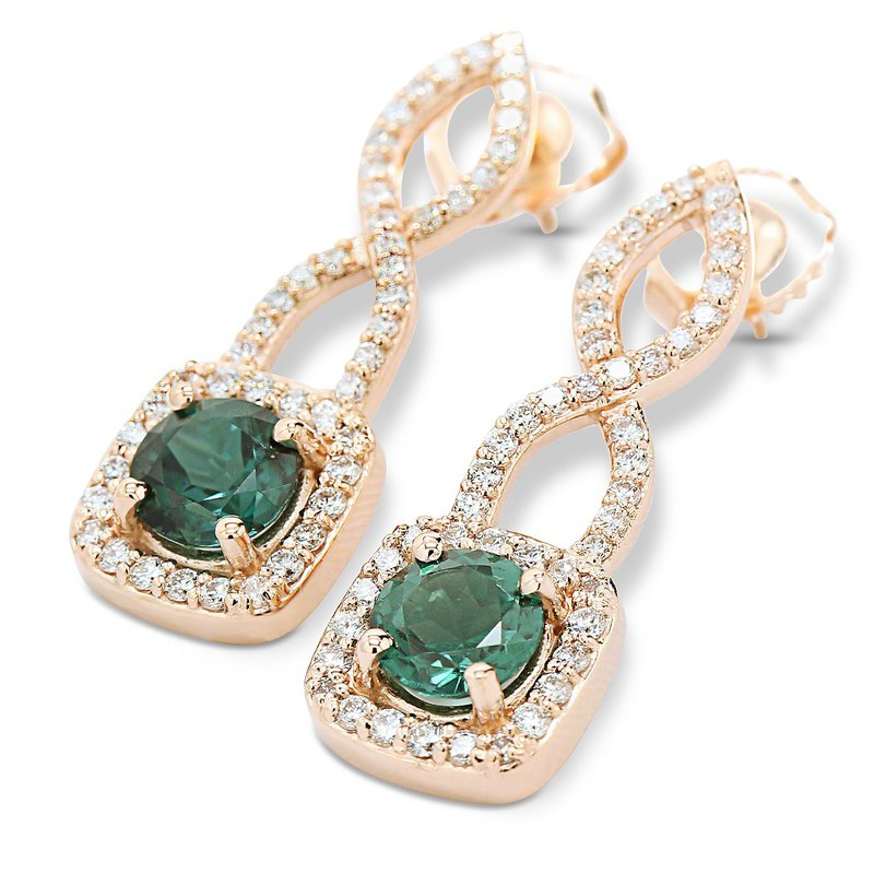 Daniels Designs Green Tourmaline & Diamond Halo Earrings