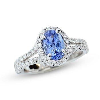 Sapphire Halo Ring 14KW