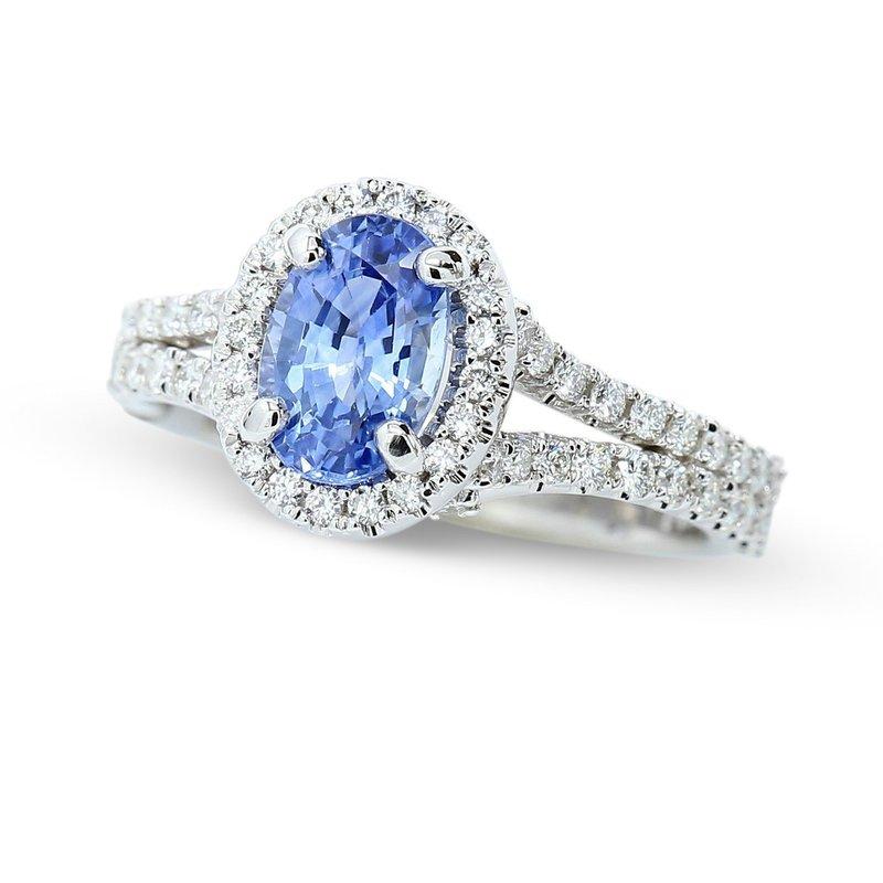 Lunaria Sapphire Halo Ring 14KW