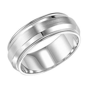 14KW White Gold Brushed/Polished Comfort Fit Engraved Wedding Band