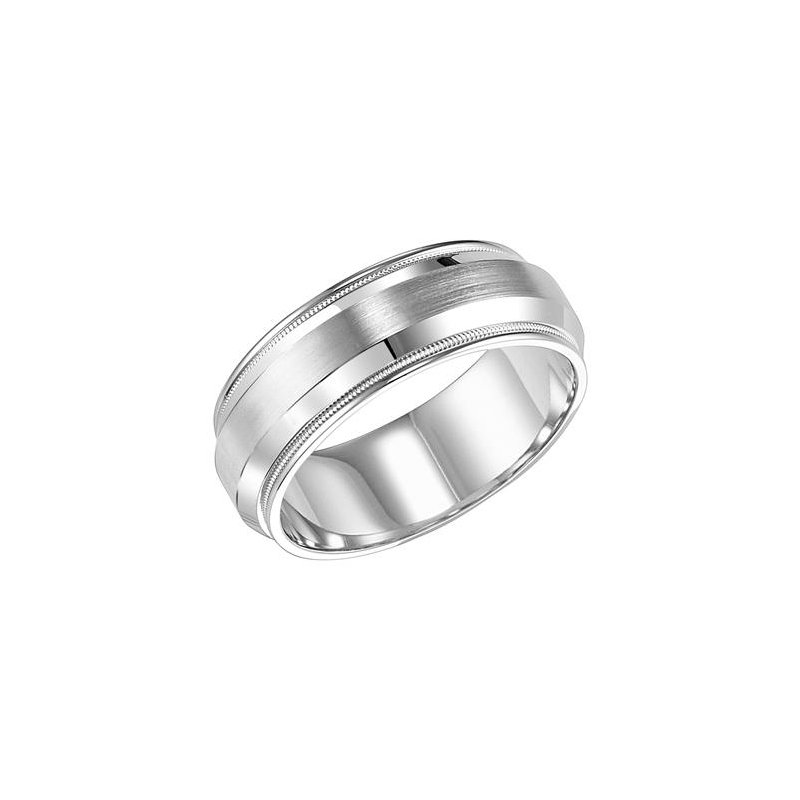 Frederick Goldman 14KW White Gold Brushed/Polished Comfort Fit Engraved Wedding Band