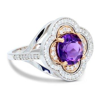 Custom Clover Amethyst Ring 14K