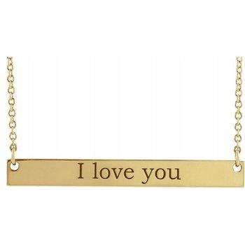 Engravable Bar Necklace 14KY