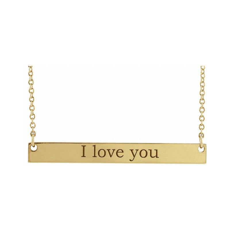 Gallery Designs Engravable Bar Necklace 14KY