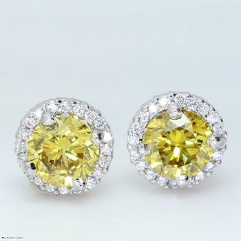 Fancy Yellow Diamond Halo Studs