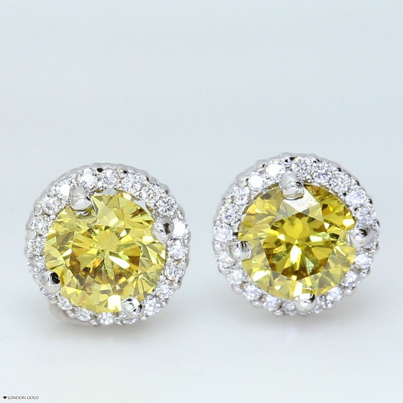 London Gold Designs Fancy Yellow Diamond Halo Studs