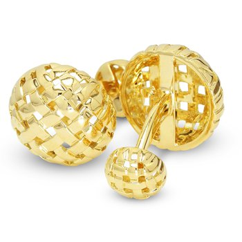 Round Basketweave Cuff Links 18KY