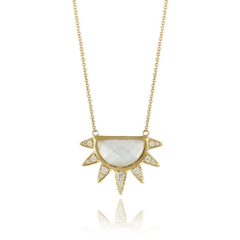 Doves Diamond & Mother of Pearl Necklace 14KY